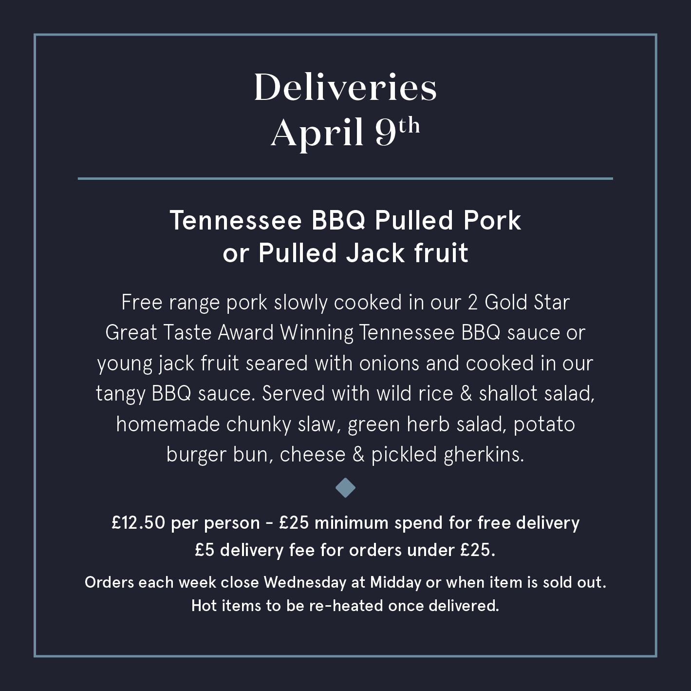April 9th - Tennessee BBQ Pulled Pork or Pulled Jackfruit