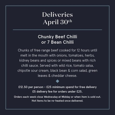 April 30th  Dublicious Friday Chilli Beef or 7 Bean Chilli