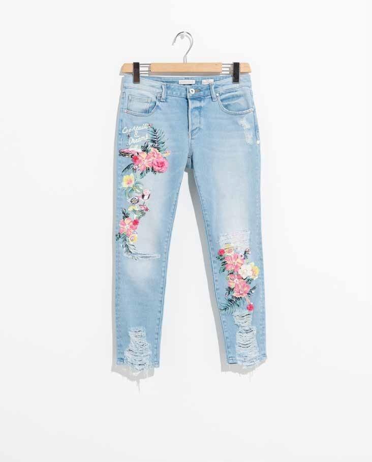 Jeans Fracomina skinny con applicazioni e strappi
