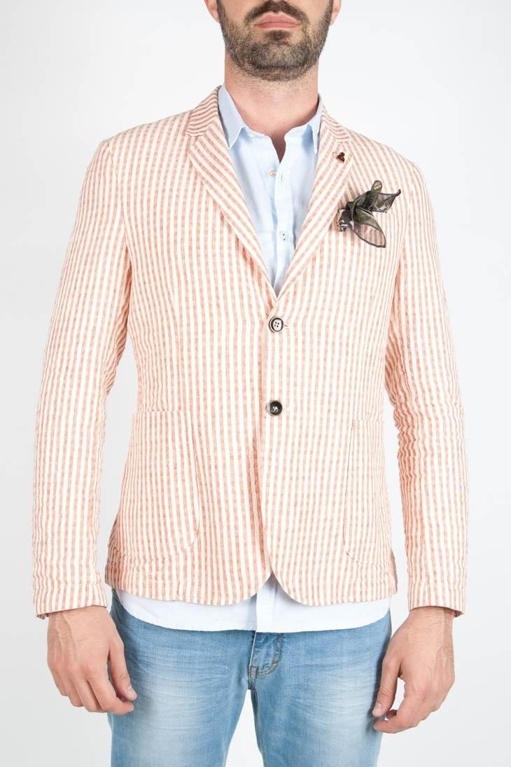 Giacca uomo a righe in lino e cotone.