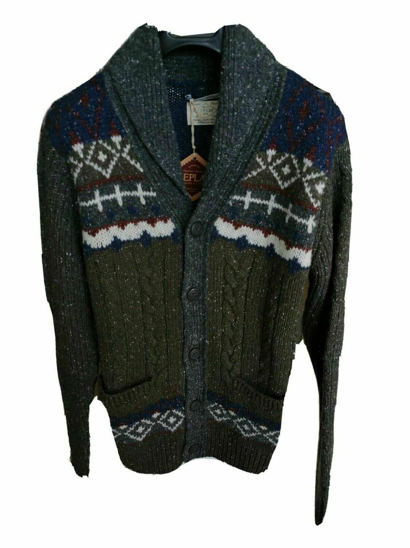 Cardigan sciallato in misto lana