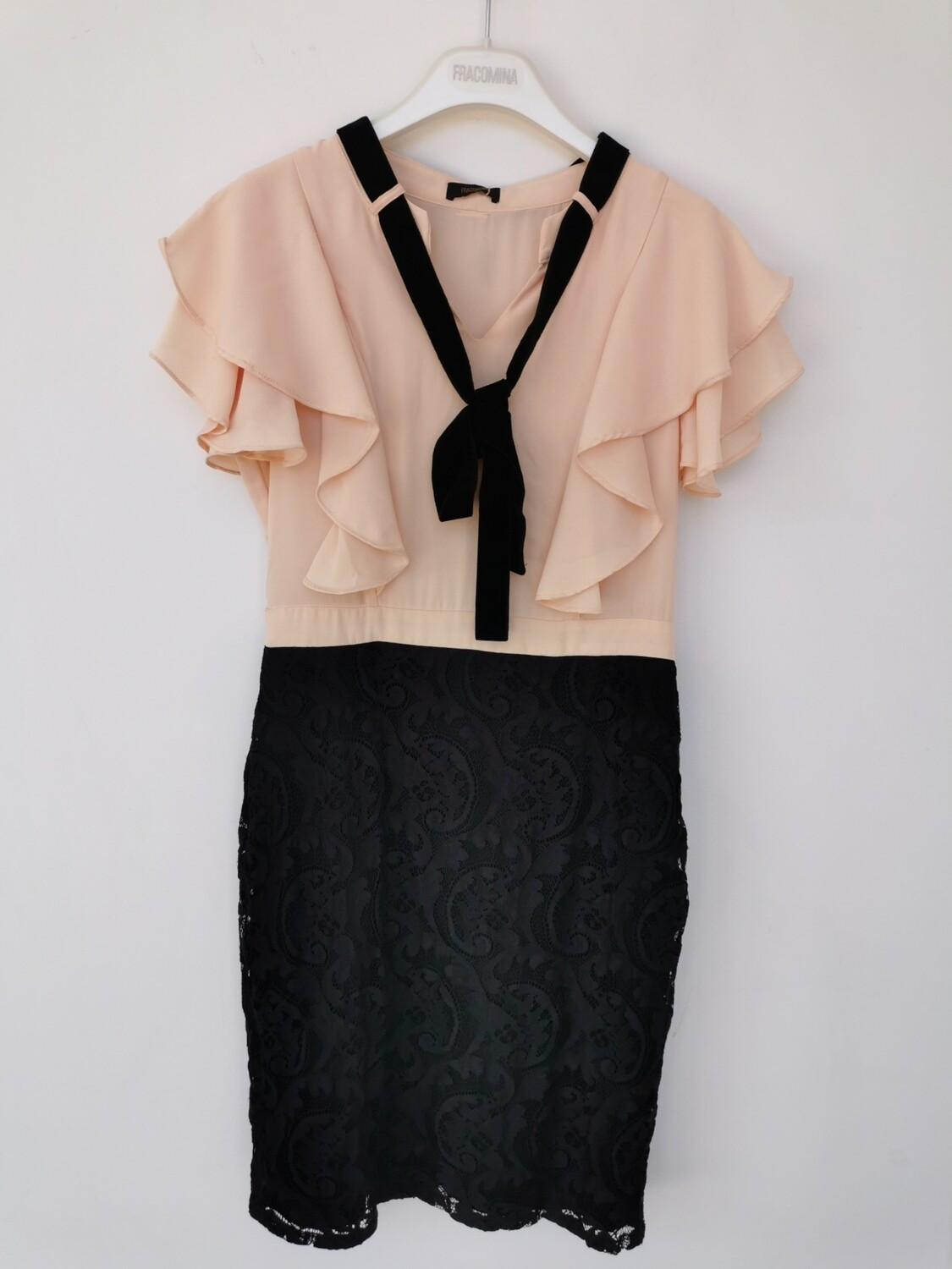 dress with lace skirt and ruffles.