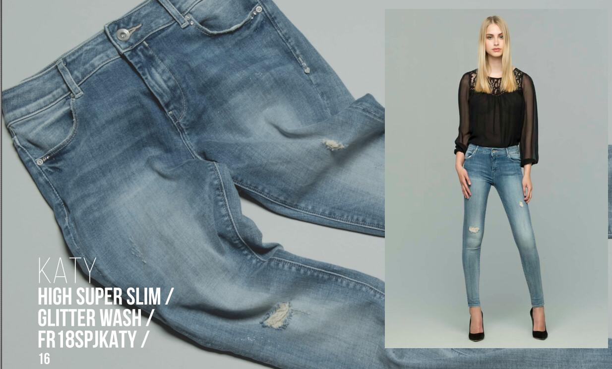 Jeans a vita alta glitter wash