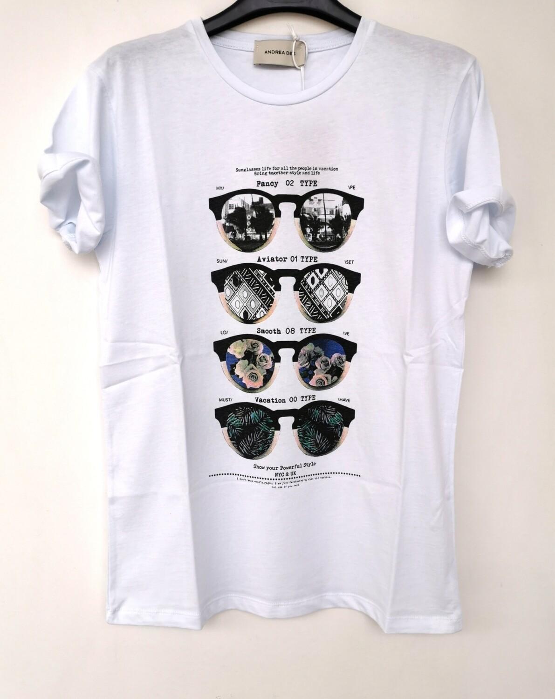 T-shirt stampa occhiali