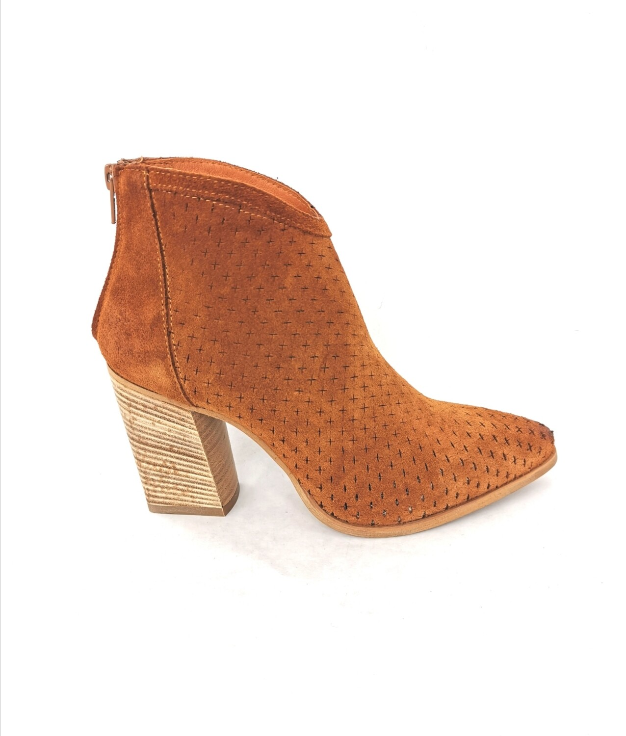 Ankle boots in genuine perforated leather