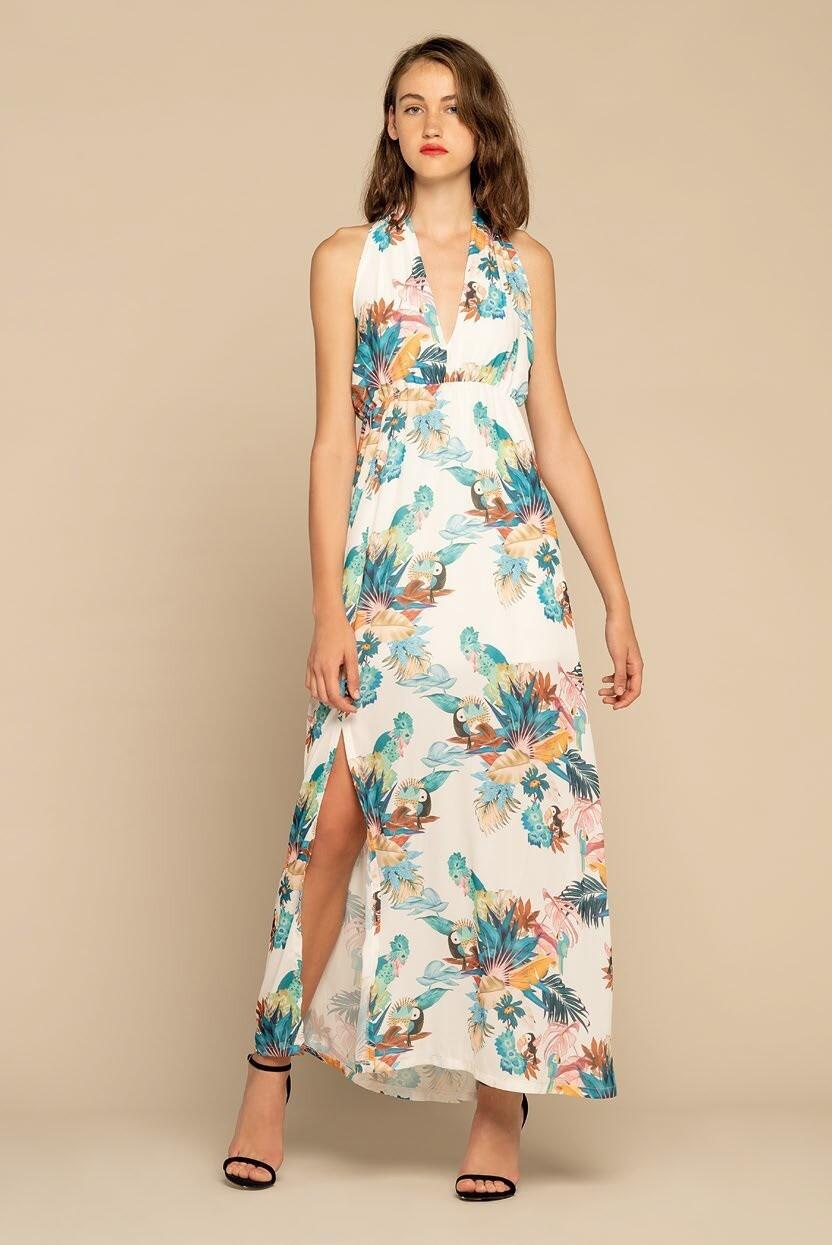 Long tropical print dress