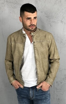 Vintage effect faux leather jacket