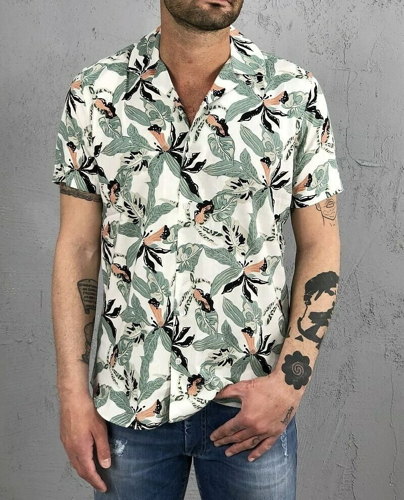 Camicia  m/m stampa floreale