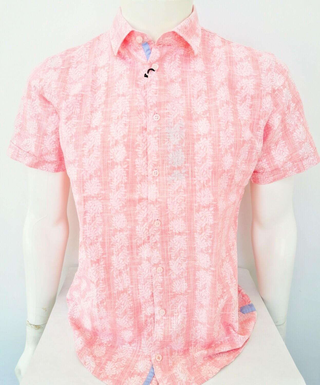 Camicia mezza manica con stampa reverse