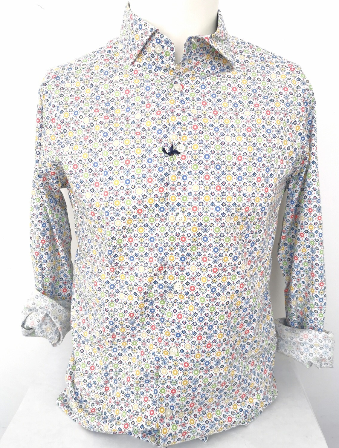 Camicia a fantasia multicolor collo francese