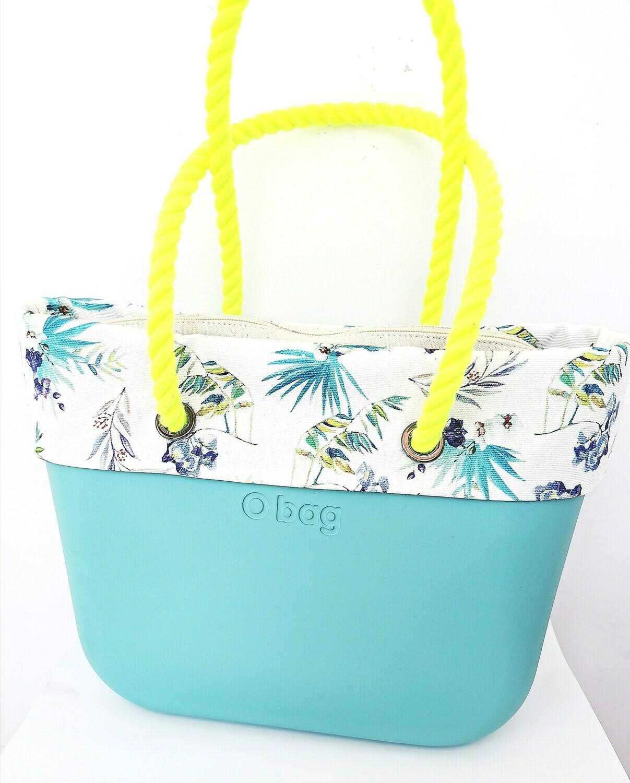 O bag con manici in corda sacca e bordo in canvas