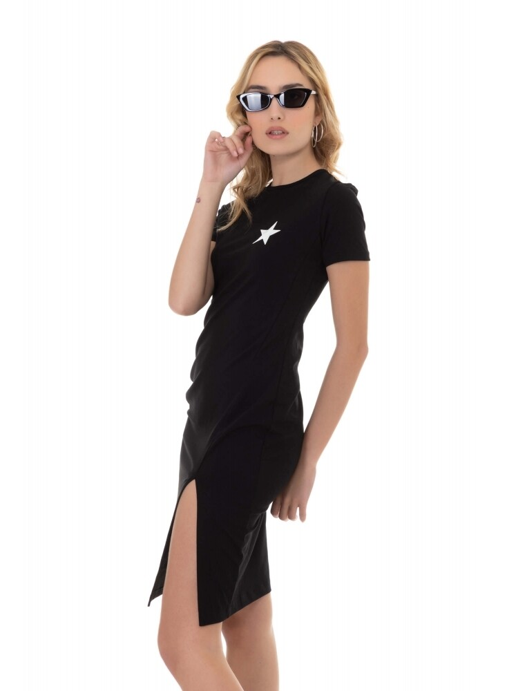Jersey dress with slit.