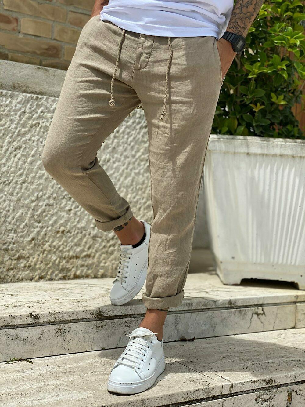 Pantalone chino in lino