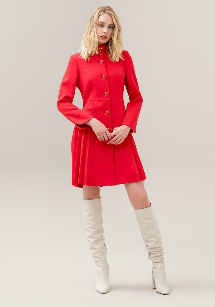Cappotto regular con pannello plissettato sul retro