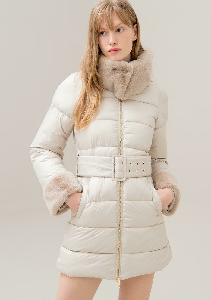 Long eco down jacket with eco fur inserts