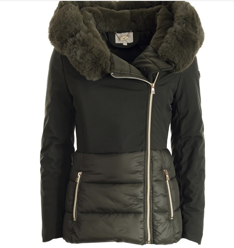 Regular down jacket with hood doubled