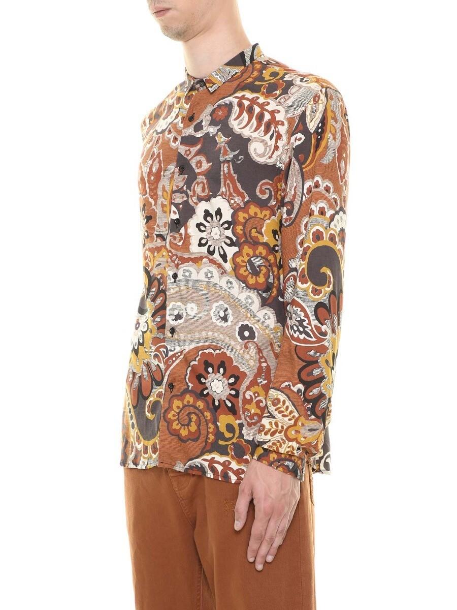 Camicia fantasia floreale ruggine