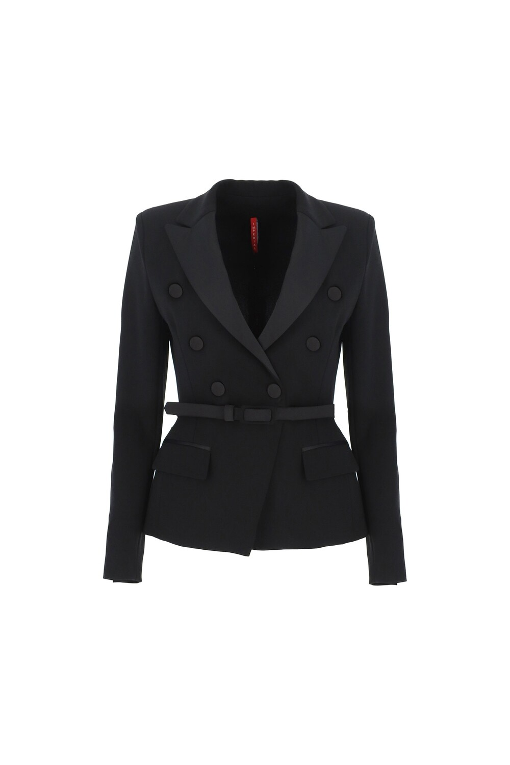 Double-breasted jacket with strap and peak lapels