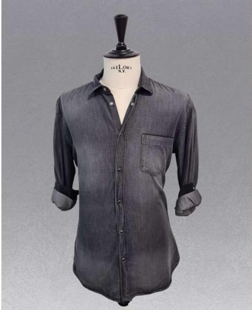 Camicia in denim nero lavato