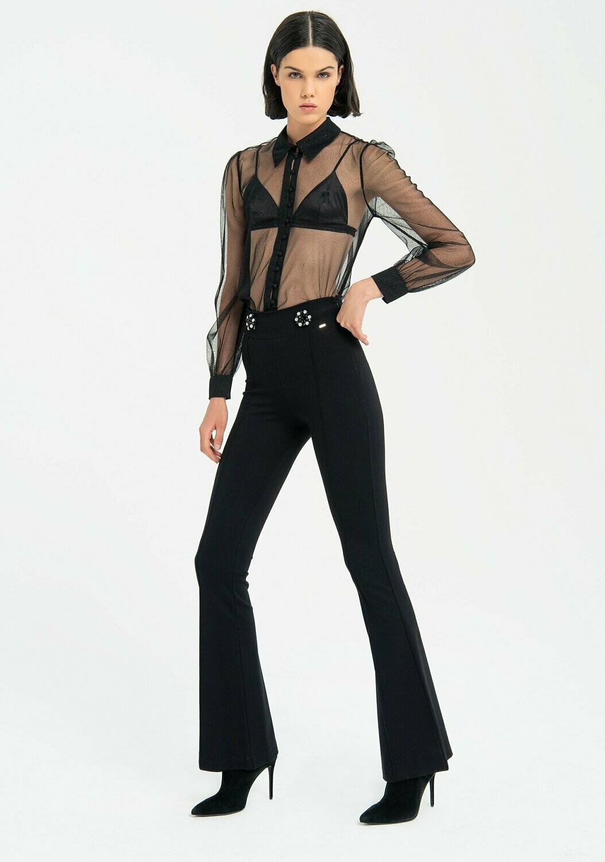 Pantaloni bootcut in tessuto stretch