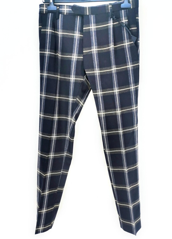 Pantalone chino slim fit stampa quadroni
