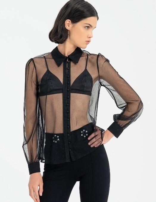 Camicia trasparente con micro glitter