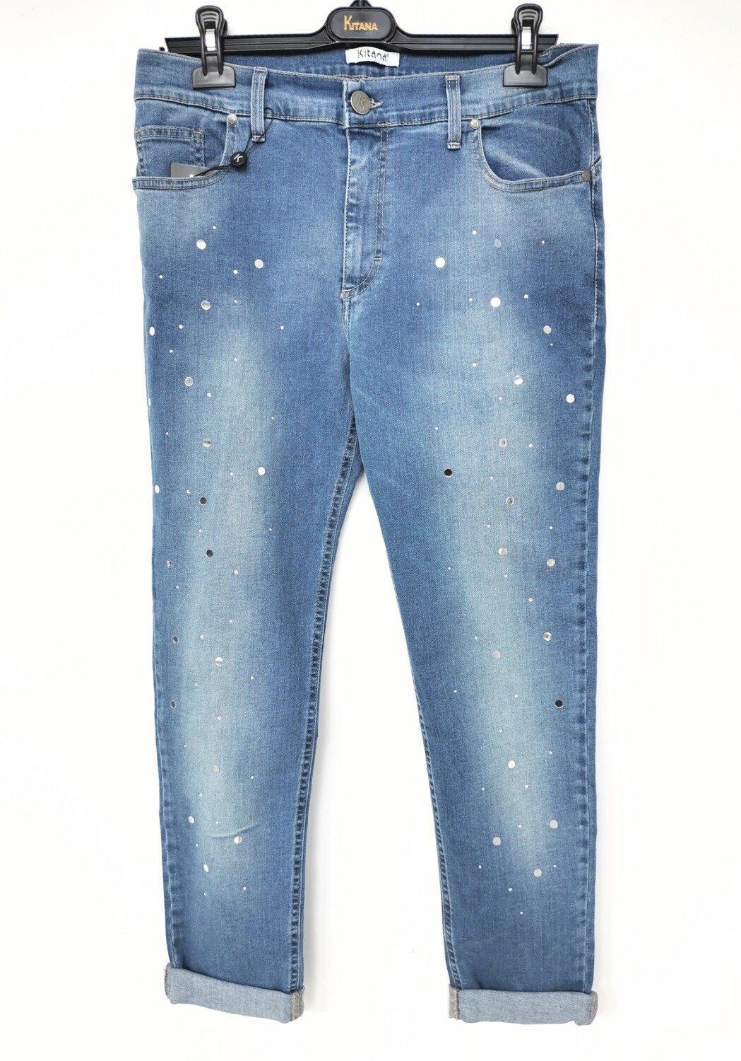 Jeans slim fit con paillettes