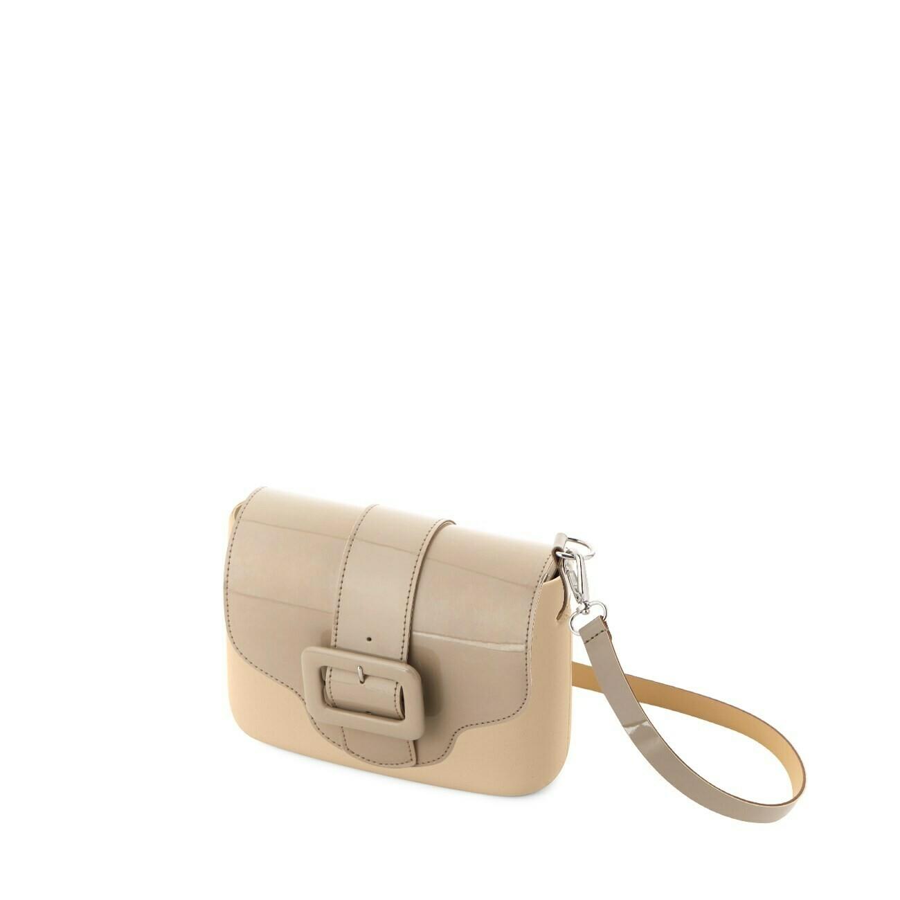 O bag pocket sabbia pattina ecopelle vernice