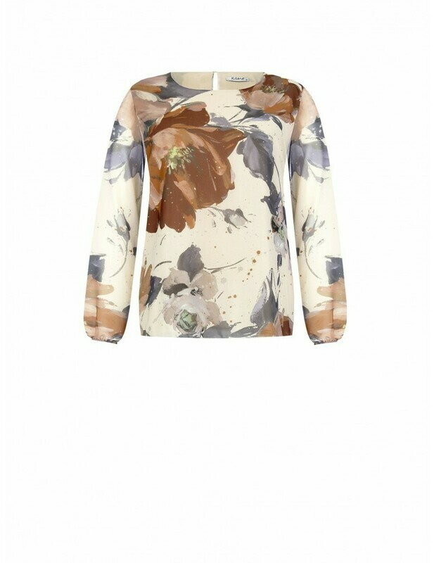 Blouse lined with floral print