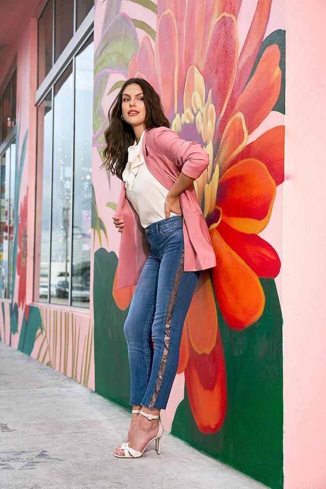 Jeans skinny a vita alta con paillettes