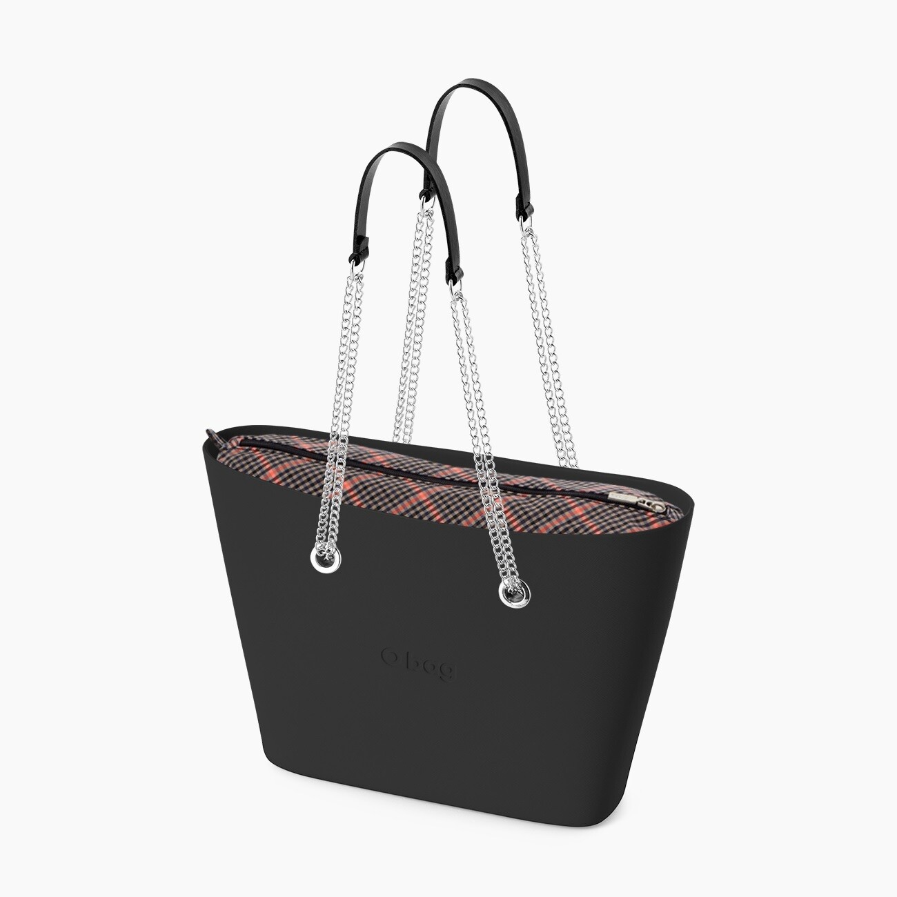 O bag urban nera check fluo rosa