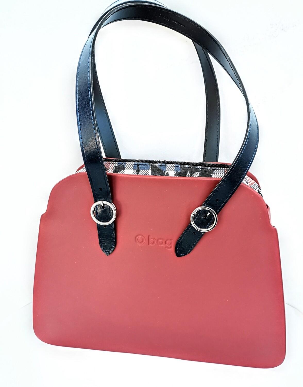 O BAG reverse rubino sacca saffiano check floral blu