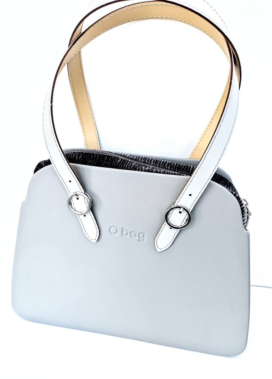 O BAG reverse grigio chiaro tessuto velluto plissé