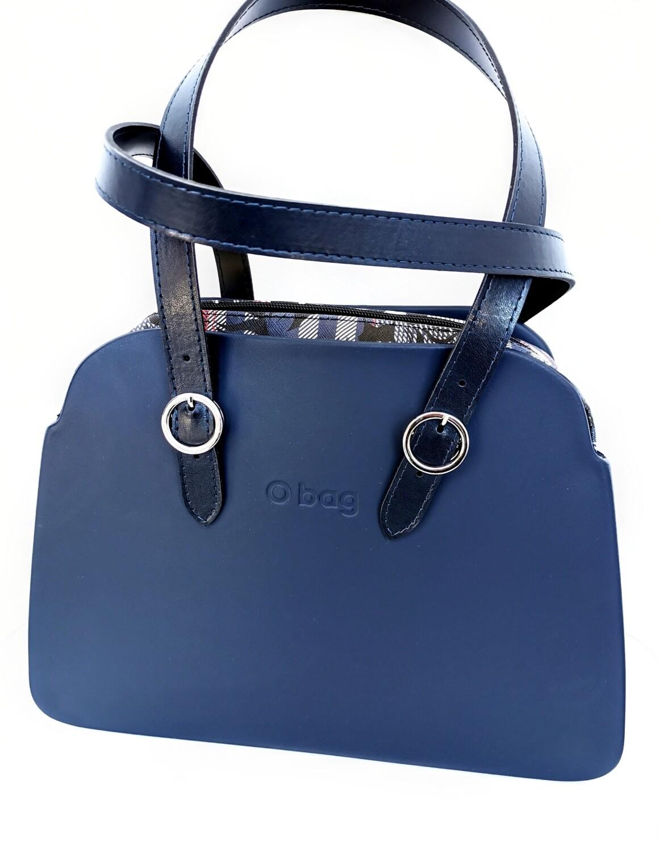 O BAG reverse check floral navy blue