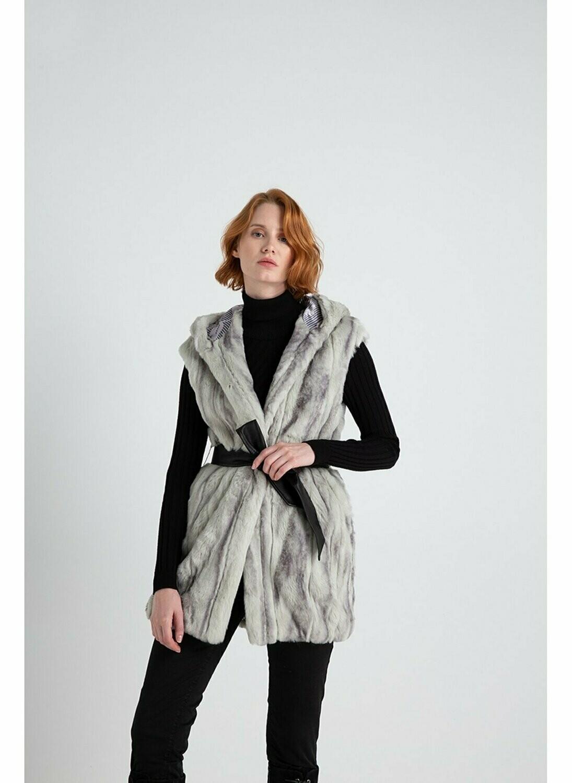 Sleeveless faux fur with hood