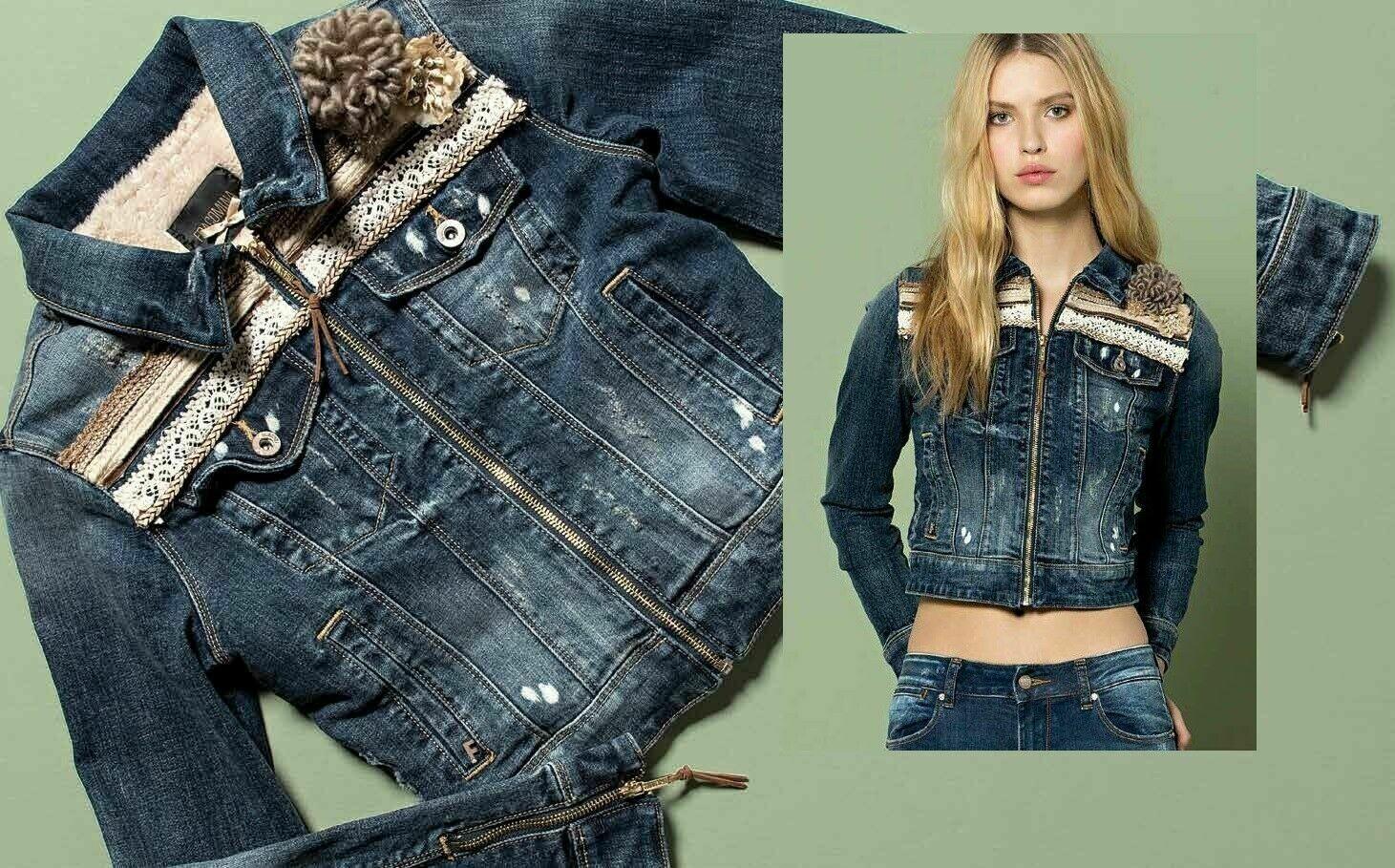 Denim jacket with eco fur