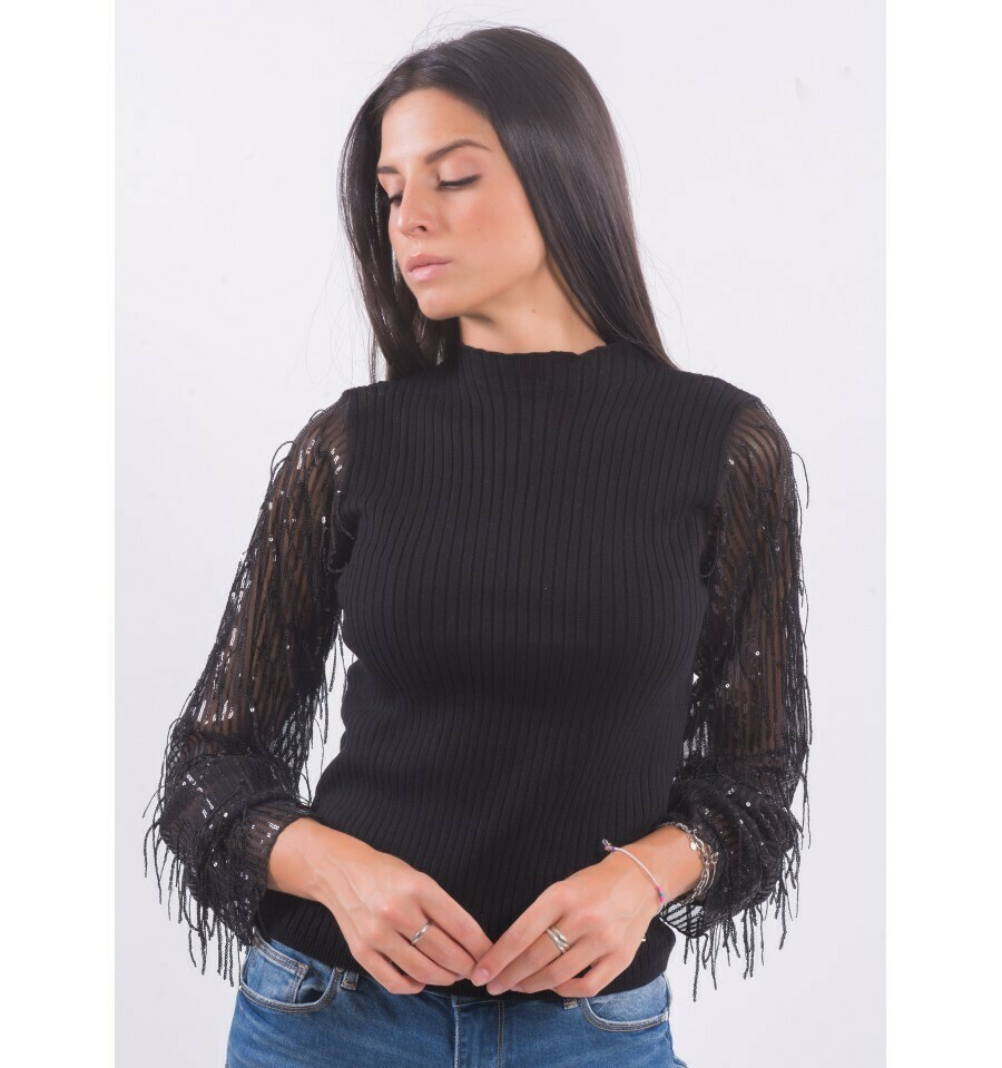 Mock neck sweater with sequin sleeves