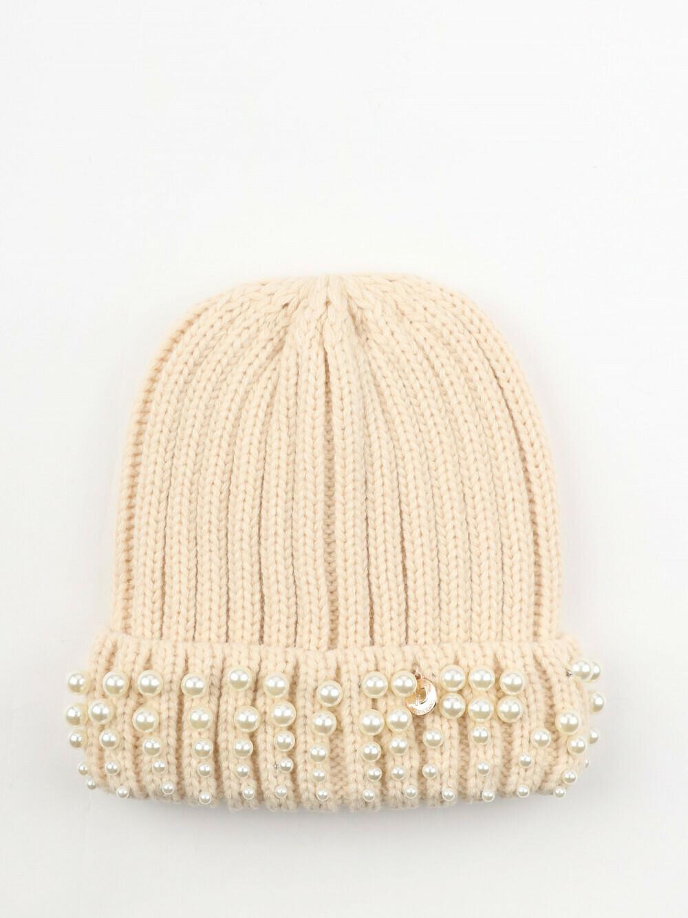Cappello donna a costine con perle