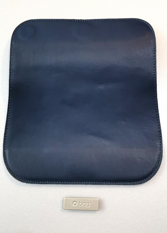 O bag glam blue faux leather flap