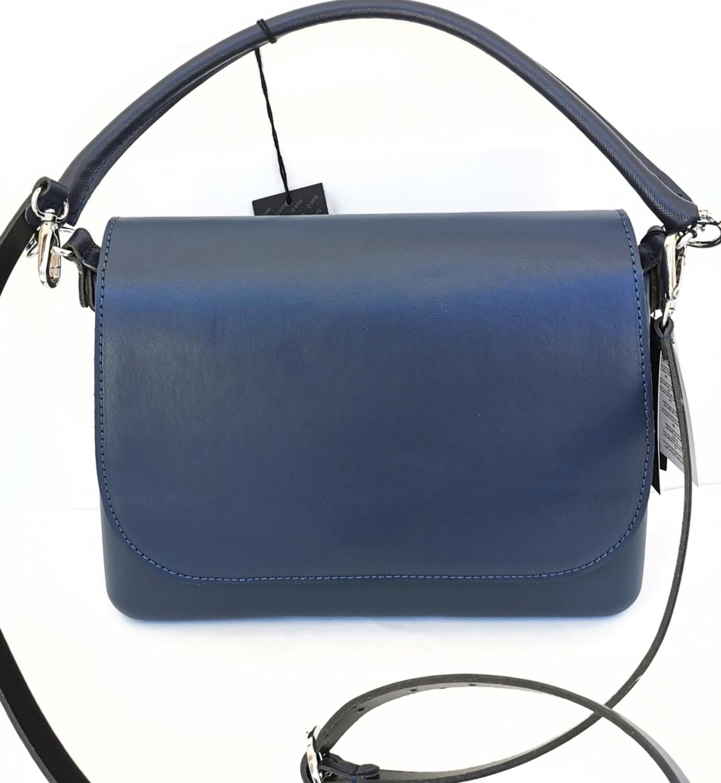 O bag glam blu navy con pattina simil pelle