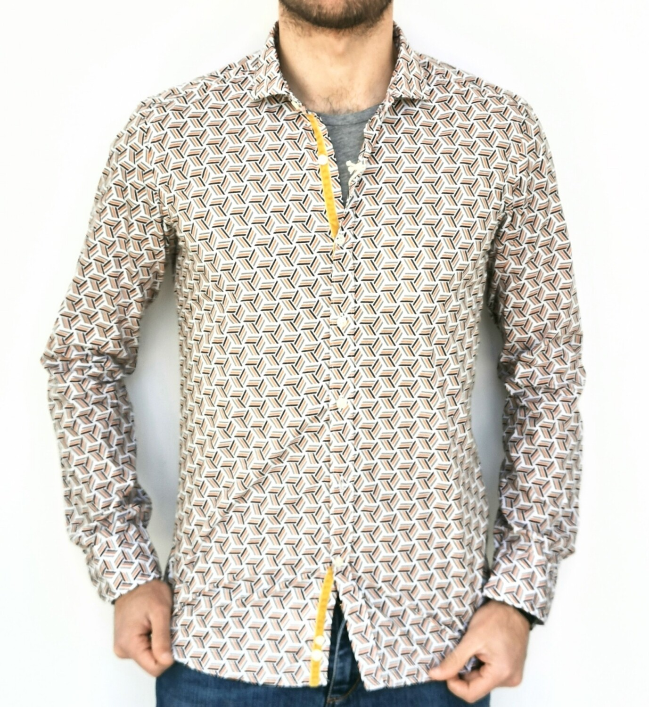 Camicia slim fit con inserti in ciniglia