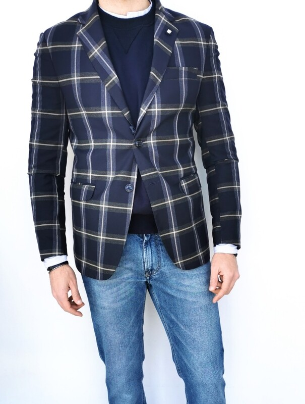 Slim fit tartan print jacket