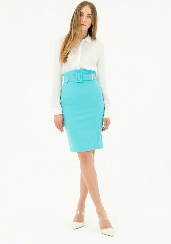 Fitted pencil skirt in stretch fabric