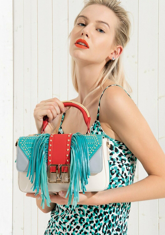Handbag with shoulder strap and fringes