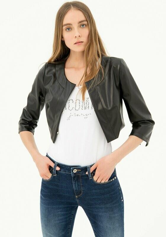 Eco leather bolero jacket