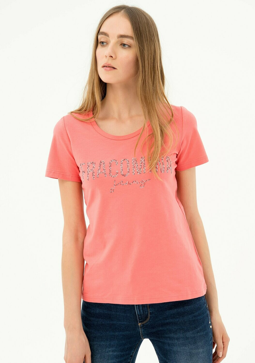 T-shirt in jersey stretch con strass