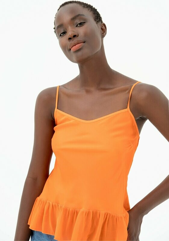 Tank top in fresh viscose and flounce
