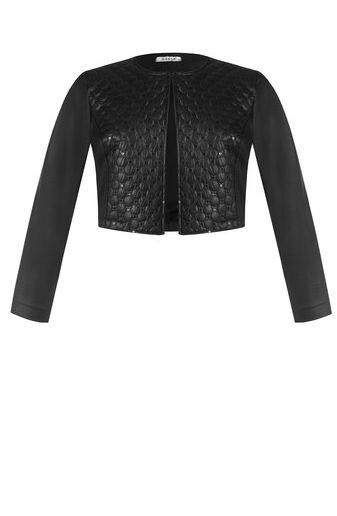 Bolero jacket in quilted eco leather