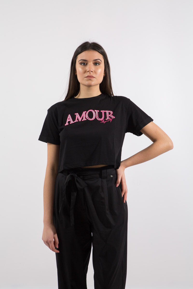 T-shirt stampa Amour con strass