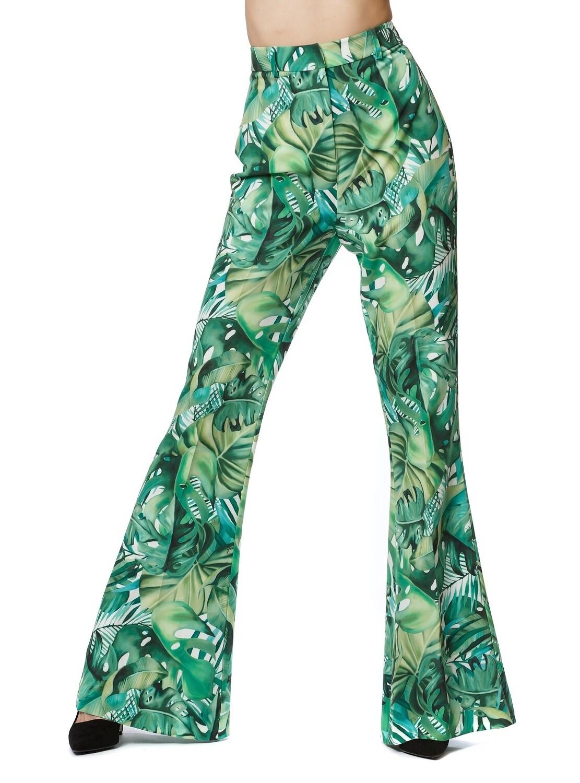 Pantalone bootcut stampa tropical